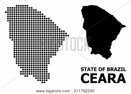 Dot Map Of Ceara State Composition And Solid Illustration. Vector Map Of Ceara State Composition Of