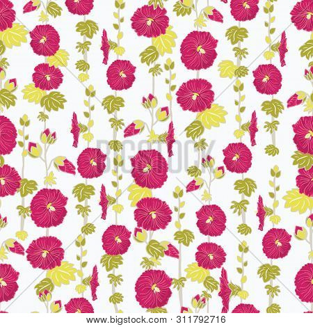 Blooming Red Mallow Flower Garden Seamless Repeat Vector Pattern Background For Fabric, Scrapbooking