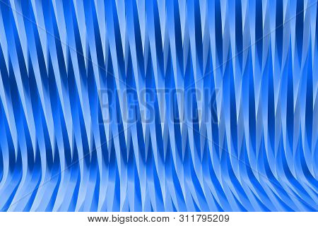 Volumetric Surfaces Formed With Extruded Star Shape, Christmass Or Veterans Day Concept - Nice Blue
