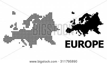 Pixelated Map Of Europe Composition And Solid Illustration. Vector Map Of Europe Combination Of Sphe