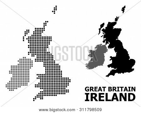 Pixel Map Of Great Britain And Ireland Composition And Solid Illustration. Vector Map Of Great Brita
