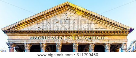 Pediment And Tympanum Detail Of Roman Pantheon, Rome, Italy