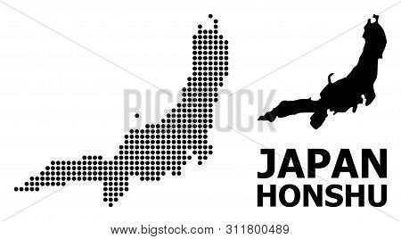 Dotted Map Of Honshu Island Composition And Solid Illustration. Vector Map Of Honshu Island Composit