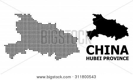 Dot Map Of Hubei Province Composition And Solid Illustration. Vector Map Of Hubei Province Compositi
