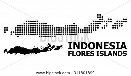 Pixelated Map Of Indonesia - Flores Islands Composition And Solid Illustration. Vector Map Of Indone