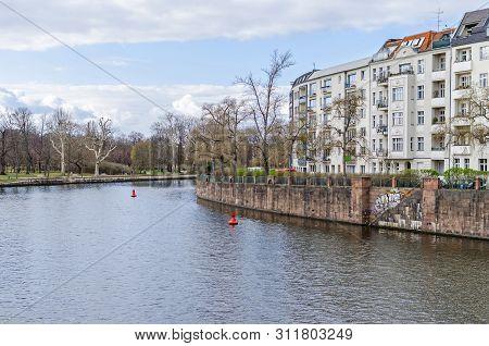 Berlin, Germany - March 19, 2019: Banks Of The River Spree Bonhoefferufer In A District Charlottenbu
