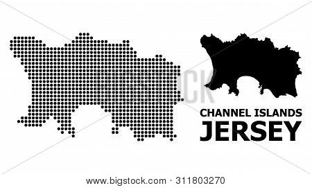 Pixelated Map Of Jersey Island Composition And Solid Illustration. Vector Map Of Jersey Island Compo