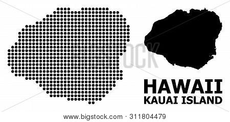 Pixel Map Of Kauai Island Composition And Solid Illustration. Vector Map Of Kauai Island Composition