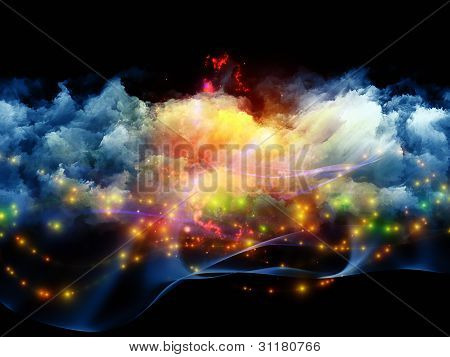 Background design of clouds of fractal foam and abstract lights on the subject of art spirituality painting music visual effects and creative technologies poster