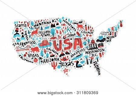 Usa Map Flat Hand Drawn Vector Illustration. American States Names Lettering And Cartoon Landmarks,