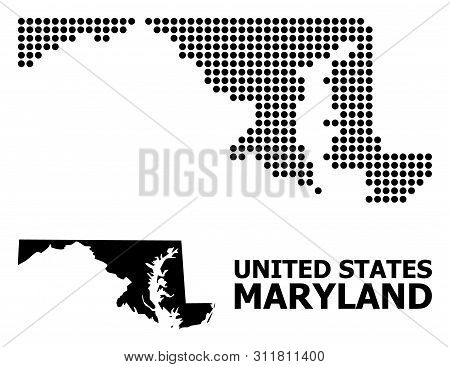 Pixel Map Of Maryland State Composition And Solid Illustration. Vector Map Of Maryland State Composi