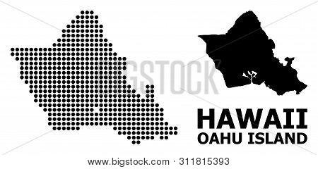 Pixel Map Of Oahu Island Composition And Solid Illustration. Vector Map Of Oahu Island Composition O