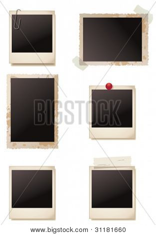 Vintage blank photo frames. Vector