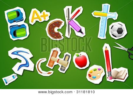 illustration of back to school written with different element