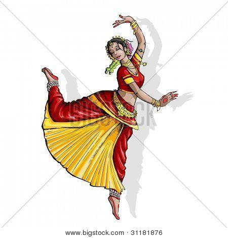 illustration of Indian classical dancer performing bharatnatyam