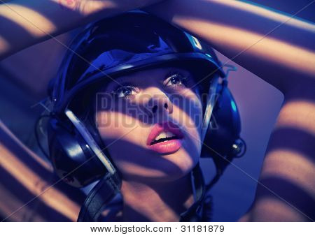 Portrait of a woman in helmet