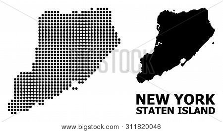 Dot Map Of Staten Island Composition And Solid Illustration. Vector Map Of Staten Island Composition