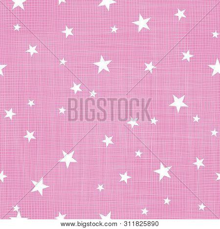 Pink Tiny Stars Linen Textured Repeat Pattern