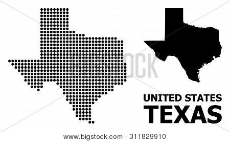 Dot Map Of Texas State Composition And Solid Illustration. Vector Map Of Texas State Composition Of