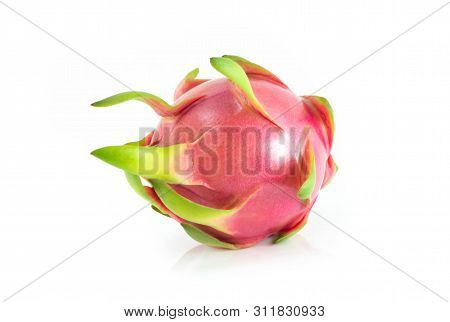 Close Up Fresh Dragon Fruit Isolated On White Background, Food Healthy