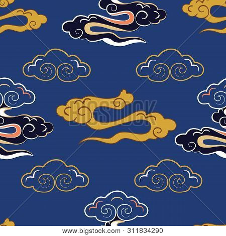 Vector Illustration Of Stylized, Abstract, Indigo,yellow, Coral Clouds Resembling Dragon Tails At Be