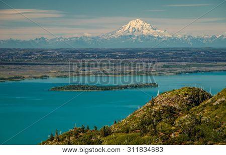 Mt. Redoubt Viewpoint From Skilak Lake In Kenai Peninsula, Alaska