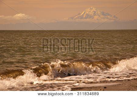 Evening View Of Mt. Redoubt Volcano From Kenai, Alaska
