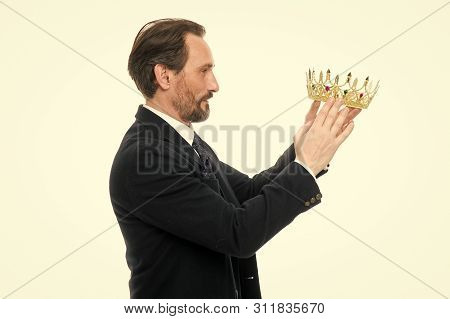 King Attribute. Become Next King. Monarchy Family Traditions. Man Nature Bearded Guy In Suit Hold Go