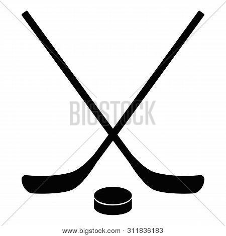 Hockey Icon On White Background. Flat Style. Stick And Washer Icon For Your Web Site Design, Logo, A