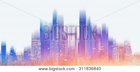 Futuristic Modern Building With Bright And Glowing Colorful Light, On White Background