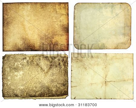 Aged paper textures, grunge backgrounds