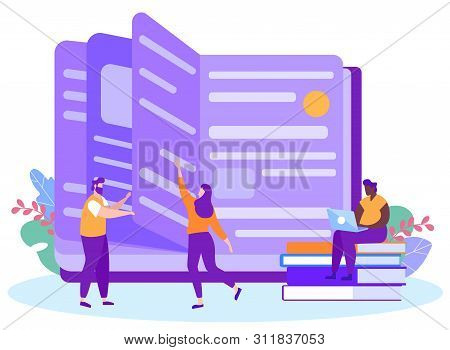 Man And Woman Reading Book. Remote Learning. Distance Learning. Lesson Online. E-learning. Peopke On