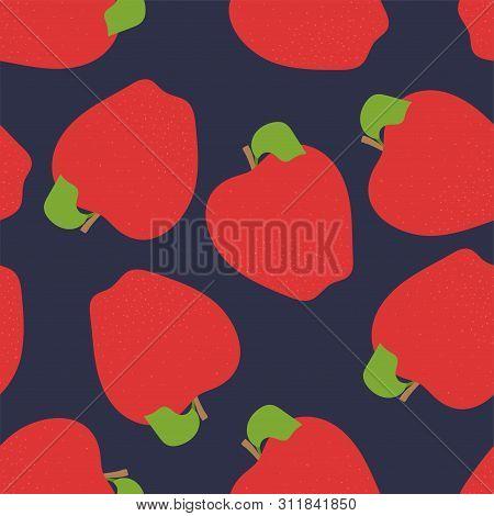 Apple Seamless Pattern. Hand Drawn Fresh Fruit. Vector Sketch Background. Fashion Design. Food Print