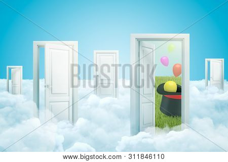 3d Rendering Of Five Doorways Standing On White Fluffy Clouds, One Door Leading To Green Lawn With T