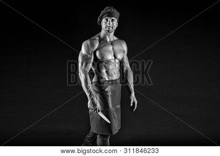 Brutal Butcher. Food Additives. Sexy Man Cook Isolated On Black. Butcher With Knife. Man With Muscul