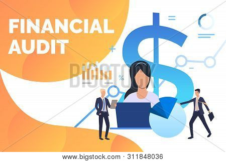 Auditors Working On Financial Reports. Finance, Accounting, Analysis. Financial Audit Concept. Vecto