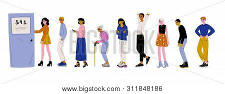 People Dressed In Casual Clothes Standing In Line Or Queue Near Door Vector Illustration
