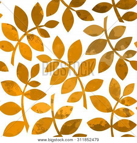 Watercolor Autumn Abstract Background. Seamless Pattern With Golden Autumn Leaves. Watercolor Leaves