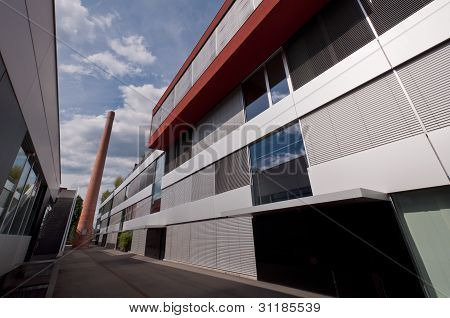 Commercial buildings and chimney