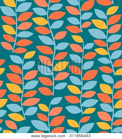 Colorful Seamless Pattern Autumn Background. Seamless Pattern With Autumn Leaves. Autumn Ornament. V