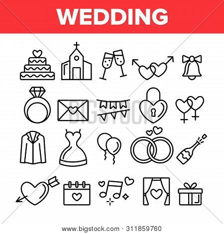 Wedding And Engaging Vector Linear Icons Set. Wedding Traditional Ceremony Outline Symbols Pack. Eng
