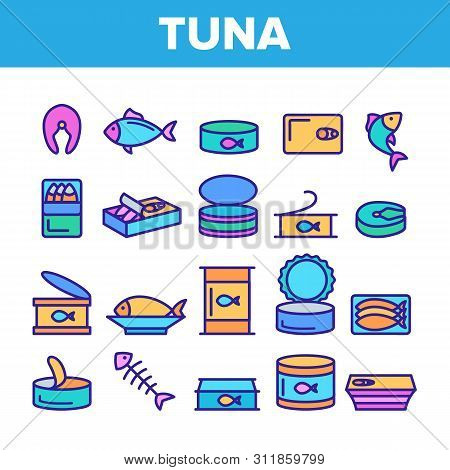 Color Tuna, Fish Products Vector Linear Icons Set. Raw, Cooked And Canned Tuna Outline Symbols Pack.