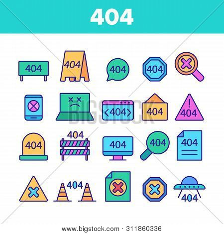 Color 404 Http Error Message Vector Linear Icons Set. 404 Page Not Found Outline Symbols Pack. Inter