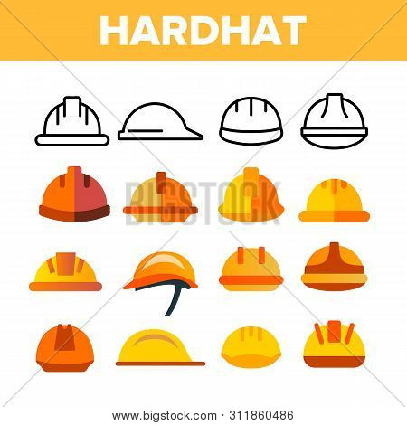 Protective Hard Hat Vector Color Icons Set. Orange Hardhat Equipment Linear Symbols Pack. Builder, C
