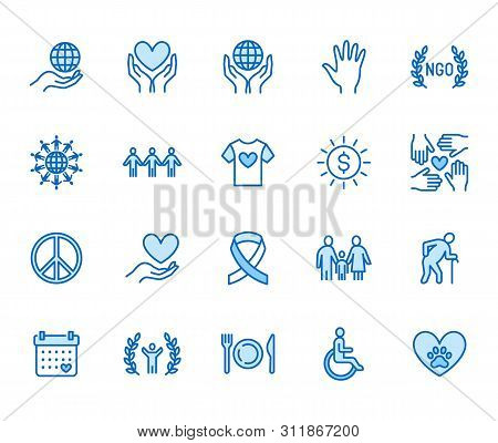 Charity Flat Line Icons Set. Donation, Nonprofit Organization, Ngo, Giving Help Vector Illustrations