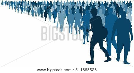 Crowd Of People Coming. People Waiting In Line Queue. Isolated Vector Silhouette