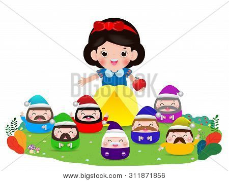Snow White And The Seven Dwarfs, Snow White Isolated On White Background, Princess And Dwarfs And Wi