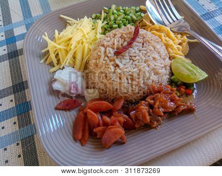 Thai Food - Rice Mixed With Shrimp Paste (kao Cluk Ka Pi) With Dish As A Mango Lemon Chili Cucumber