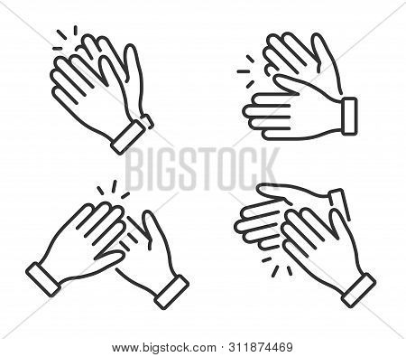 Clapping Hands Icon. Applause Clap. Celebration Hands Gesture. Audience Slam Icon. Cheers Slap Sign.