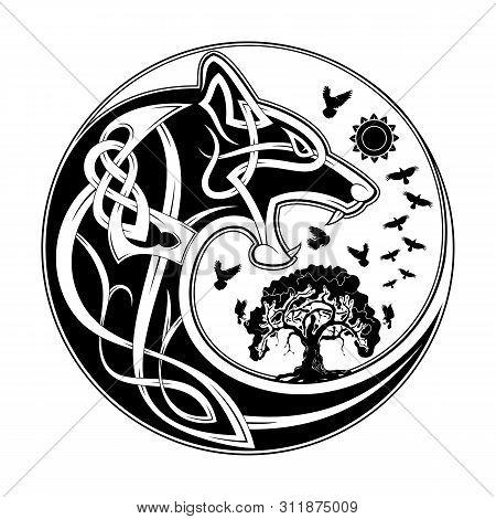 Vector Illustration Of The Scandinavian Myths. Symbols Of Vikings - A Wolf And A Raven. Celtic Patte